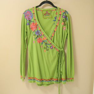 Johnny Was Green Embroidered Floral Wrap Top